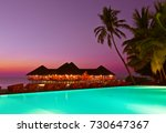 pool and cafe on tropical... | Shutterstock . vector #730647367