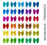 colorful realistic bows set ... | Shutterstock .eps vector #730656313