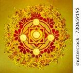 a 'rangoli' made with powder... | Shutterstock . vector #730659193