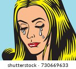 crying girl in pop art style | Shutterstock .eps vector #730669633