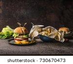 homemade tasty burger with... | Shutterstock . vector #730670473