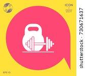 kettlebell and barbell icon | Shutterstock .eps vector #730671637