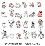 Stock vector set of different cute animals bear rabbit cat owl unicorn and owl for greeting card design t 730676767