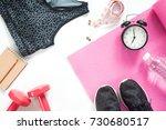 selfie of feet with sport... | Shutterstock . vector #730680517
