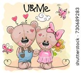 two cute cartoon bears on... | Shutterstock . vector #730689283