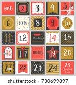christmas advent calendar  hand ... | Shutterstock .eps vector #730699897