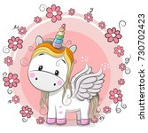 Stock photo cute cartoon unicorn with flowers on a pink background 730702423