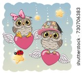 valentine card lovers owls are... | Shutterstock . vector #730706383