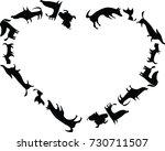 dog with heart shape border | Shutterstock .eps vector #730711507