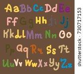 hand drawn alphabet. brush... | Shutterstock .eps vector #730717153