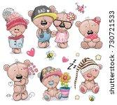 set of cute cartoon teddy bear... | Shutterstock . vector #730721533