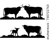 silhouettes cows and small...   Shutterstock .eps vector #730722763