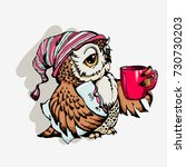 cute owl cartoon vector  bird... | Shutterstock .eps vector #730730203
