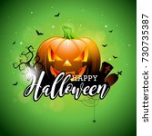 happy halloween vector... | Shutterstock .eps vector #730735387