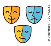 happy and sad face mask icons ... | Shutterstock .eps vector #730743163