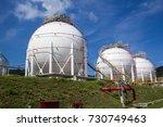 spherical tanks white... | Shutterstock . vector #730749463