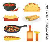 mexican cuisine cartoon dishes... | Shutterstock . vector #730753537