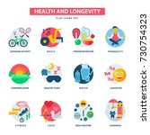 health and longevity icons... | Shutterstock .eps vector #730754323