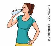 woman drinking water cartoon... | Shutterstock . vector #730761343