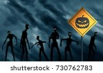 warning yellow road sign with... | Shutterstock . vector #730762783