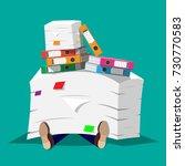 stressed businessman under pile ... | Shutterstock .eps vector #730770583