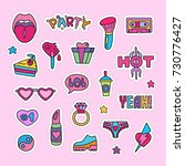 vector doodle girly party and... | Shutterstock .eps vector #730776427