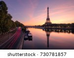 eiffel tower and the seine... | Shutterstock . vector #730781857