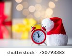 vintage alarm clock in santa... | Shutterstock . vector #730793383