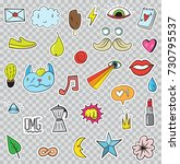 set of patches elements like... | Shutterstock . vector #730795537