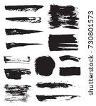 set of raster black pen ink... | Shutterstock . vector #730801573