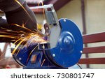 electric wheel grinding with...   Shutterstock . vector #730801747