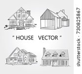 sketch of  house architecture ... | Shutterstock .eps vector #730825867