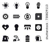 16 vector icon set   chip  bulb ...   Shutterstock .eps vector #730829113