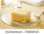 Lemoncello syrup soaked lady fingers layered with light lemon custard - stock photo