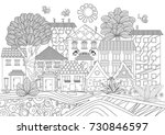 funny cityscape for coloring... | Shutterstock .eps vector #730846597