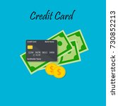 credit card and cash vector... | Shutterstock .eps vector #730852213