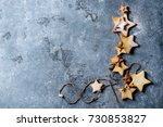 homemade shortbread star shape... | Shutterstock . vector #730853827