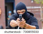 mask thief in balaclava with... | Shutterstock . vector #730855033