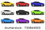 nine car in different colors on ...   Shutterstock . vector #730864003