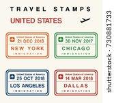 travel vector   passport stamps ... | Shutterstock .eps vector #730881733