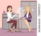 at manicure salon. manicurist... | Shutterstock .eps vector #730890517