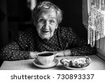 elderly women drinking tea ... | Shutterstock . vector #730893337