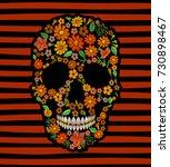 embroidery skull face orange... | Shutterstock .eps vector #730898467