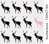 black and pink deer stamp hand... | Shutterstock .eps vector #730927783