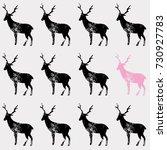 black and pink deer stamp hand... | Shutterstock .eps vector #730927783