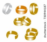 ring for wedding   set of gold... | Shutterstock .eps vector #730944187