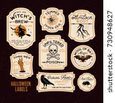 halloween bottle labels  ... | Shutterstock .eps vector #730948627