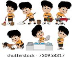 one day the kid helps parents... | Shutterstock .eps vector #730958317