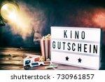 cinema movie theme with popcorn ... | Shutterstock . vector #730961857