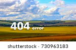 Small photo of error 404 page on bright colorful field landscape with a stylized watercolor frame